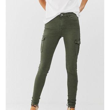 Esprit skinny denim jean with side pockets in khaki-Green