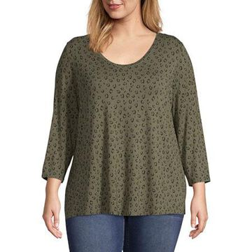 a.n.a Plus-Womens Scoop Neck 3/4 Sleeve T-Shirt