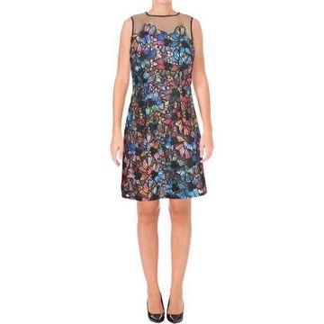 Aidan Mattox Womens Lace Illusion Cocktail Dress