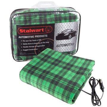 Electric Car Blanket- Heated 12V Polar Fleece Travel Throw for Car, Truck & RV by Stalwart (Green/Black)