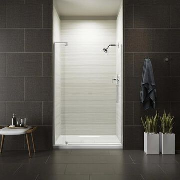 KOHLER Revel 70-in H x 39.125-in to 44-in W Frameless Pivot Bright Polished Silver Shower Door (Clear Glass) | 707541-L-SHP