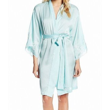 Natori Womens Blue Size Large L Lace Kimono Sleeve Wrap-Front Robes