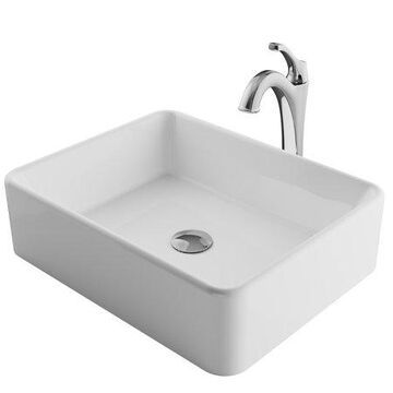 KRAUS Elavo 19-inch Modern Rectangular White Porcelain Ceramic Bathroom Vessel Sink and Arlo Faucet Combo Set with Pop-Up Drain, Chrome Finish