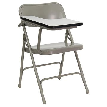 """Flash Furniture 30"""" Steel Folding Chair With Left Tablet Arm In Grey Beige"""