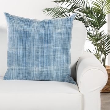 Tonquin Handmade Soild Blue/ White Poly Throw Pillow 22 inch
