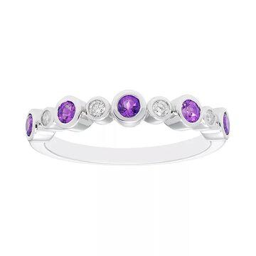 Boston Bay Diamonds Sterling Silver Gemstone & Diamond Accent Ring, Women's, Size: 8, Purple