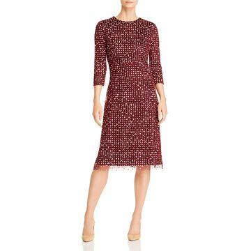 Boss Womens Ebriella Sheath Dress Embroidered Polka Dot - Burgandy