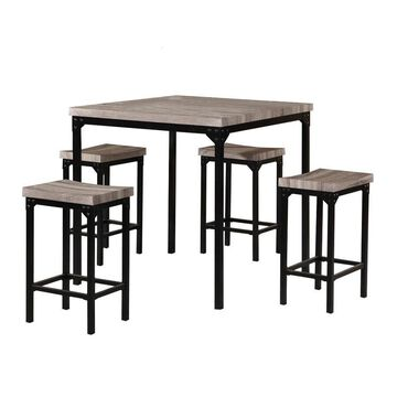 Benzara Brown and Black Dining Room Set with Square Table