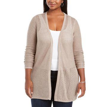 Plus Size Open Weave Cardigan Sweater
