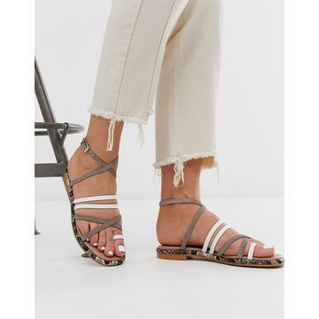 ASOS WHITE Buttercup leather strappy flat sandals in white and gray-Multi