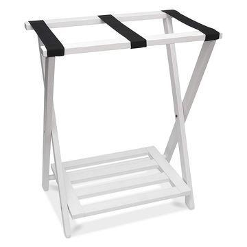 Right Height Folding Luggage Rack with Bottom Shelf, White