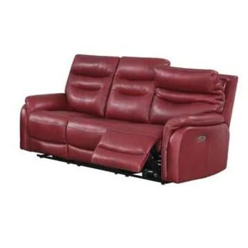 Ferndale Power Reclining Top Grain Leather Sofa by Greyson Living (Red)