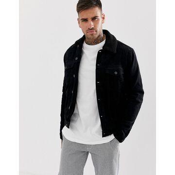 New Look corduroy jacket with fleece lining in black