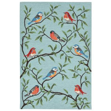 Liora Manne Ravella Birds On Branches Indoor/Outdoor Rug Aqua (8'3