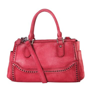 Diophy Genuine Leather Old Fashion Top Handles Doctor Style Handbag