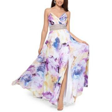 Xscape Floral-Print Embellished-Waist Gown