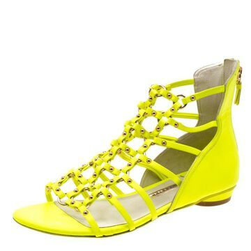 Sophia Webster Neon Green Leather Studded Flat Sandals Size 38