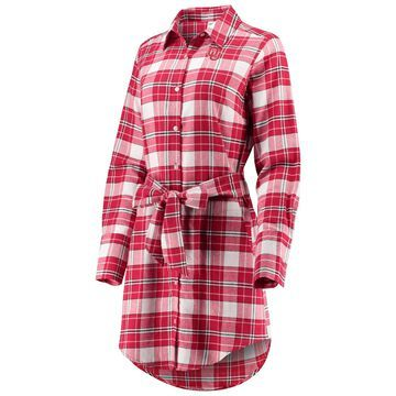 Oklahoma Sooners ZooZatz Women's Warm Up Flannel Button-Up Dress - Crimson