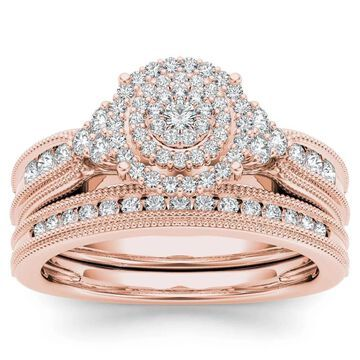 De Couer 14k Rose Gold 1/2ct TDW Diamond Cluster Halo Bridal Set