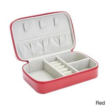Royce Leather Luxury 4-slot Jewelry Display Storage Case (Red)