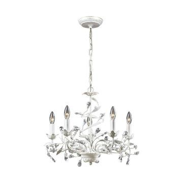 Westmore Lighting Faun 5-Light Antique White Glam Candle Chandelier