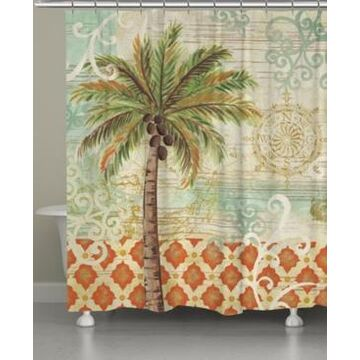 Laural Home Spice Palm Shower Curtain Bedding