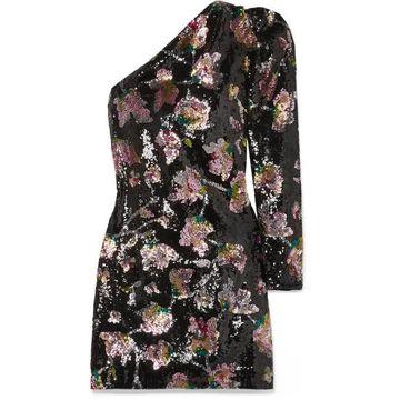 Self-Portrait - One-sleeve Sequined Tulle And Velvet Mini Dress - Black