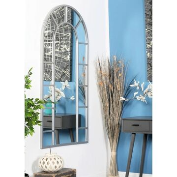Contemporary 60 x 32 Inch Arched White Wall Mirror by Studio 350 - Grey