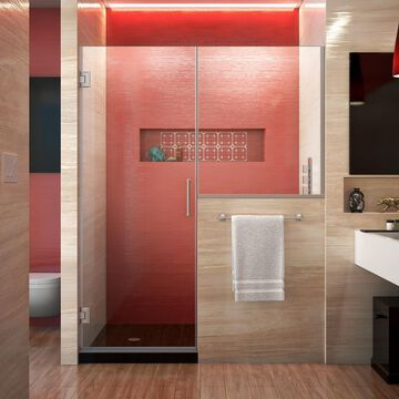 DreamLine Unidoor Plus 72-in H x 66-in to 66-1/2-in W Frameless Hinged Brushed Nickel Shower Door (Clear Glass) | SHDR-24303636-04