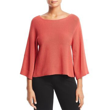 Eileen Fisher Womens Cropped Boatneck Pullover Sweater