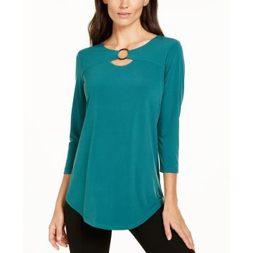 Petite Ring-Neck 3/4-Sleeve Top, Created for Macy's