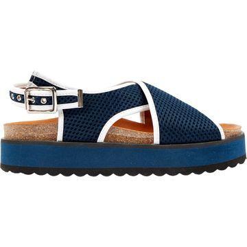 Ganni Navy Cloth Sandals