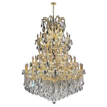 Worldwide Lighting Maria Theresa 61-Light Polished Gold Glam Crystal Candle Chandelier