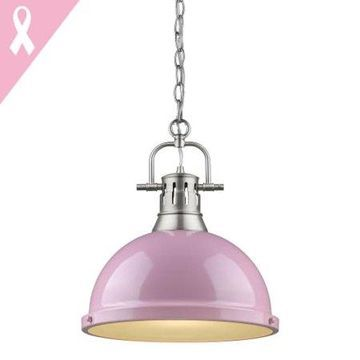 Golden Lighting Duncan 1 Light Pendant with Chain in Pewter with a Pink Shade