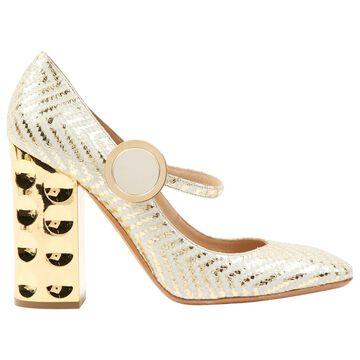 Nicholas Kirkwood Gold Leather Heels