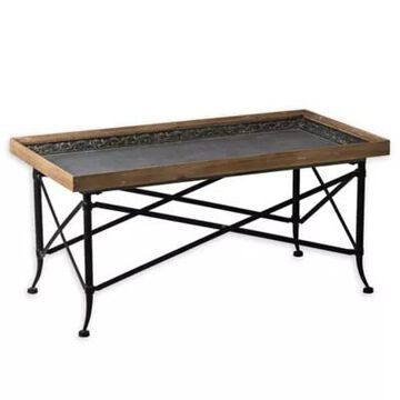 A&B Home Classic Vintage Coffee Tablle In Natural/black