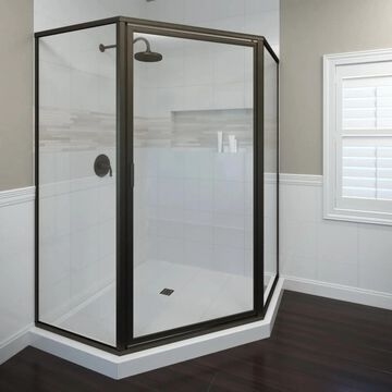 Basco Deluxe 68.625-in H x 23-3/8-in W Framed Hinged Oil-Rubbed Bronze Shower Door (Clear Glass) | 160SWACLOR