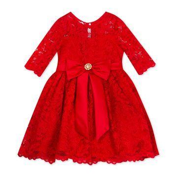 Baby Girls Glitter-Lace Dress