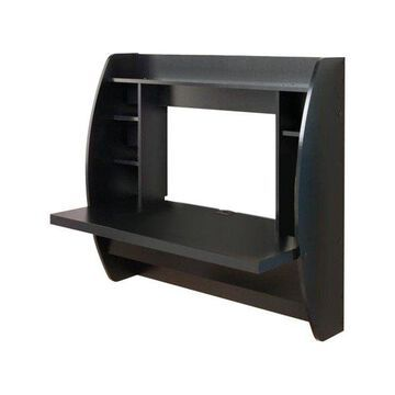 Pemberly Row Floating Computer Desk with Storage in Black