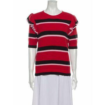 Msgm Striped Crew Neck Sweater Red Msgm Striped Crew Neck Sweater
