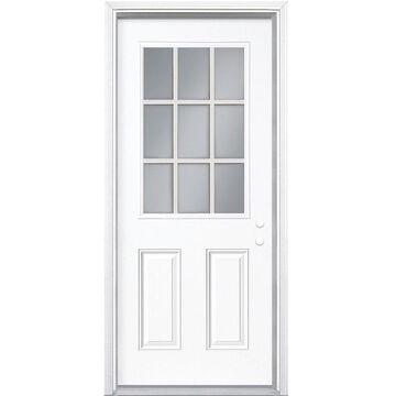 Masonite 36-in x 80-in Steel Half Lite Left-Hand Inswing Primed Prehung Single Front Door with Brickmould in White   740759