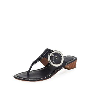 Grace Leather Thong Slide Sandals, Navy