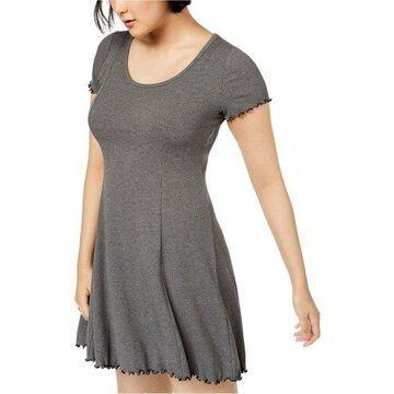 bar III Womens Ribbed Fit & Flare Dress