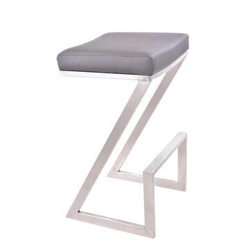 Armen Living Atlantis Grey Counter height (22-in to 26-in) Upholstered Bar Stool Stainless Steel   LCAT26BAGR
