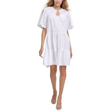 kensie Tiered Cotton Babydoll Dress
