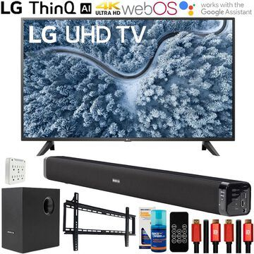 LG 55 Inch UP7000 4K LED UHD Smart webOS TV 2021 with Deco Gear Home Theater Bundle
