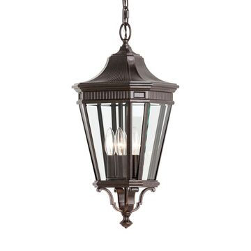 Feiss Cotswold Lane Grecian Bronze Traditional Clear Glass Lantern Pendant Light