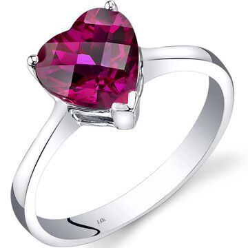 Oravo 14k White Gold 2 1/4ct TGW Created Ruby Heart Solitaire Ring