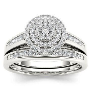 De Couer 1/3ct TDW Diamond Cluster Halo Bridal Set (Size 8.5)
