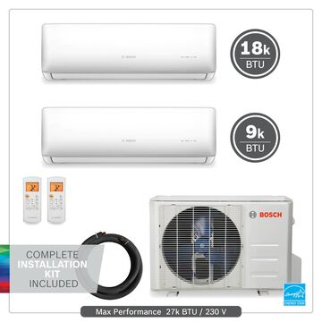Bosch 27000-BTU 230-Volt 22 SEER 1350-sq Ductless Mini Split Air Conditioner and Heater with Installation Kit   8733954454